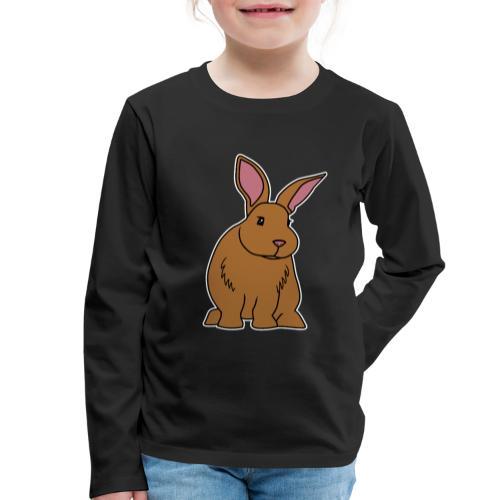 Hase, braun, süß, Comic, Geschenk, Kaninchen - Kinder Premium Langarmshirt
