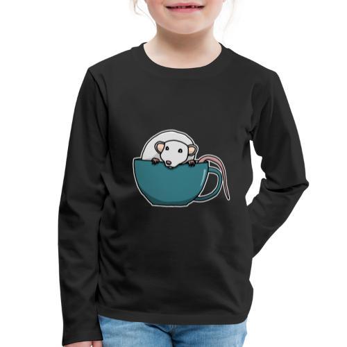 Ratte, Tasse, Tier, süß, Zeichnung, Geschenk - Kinder Premium Langarmshirt