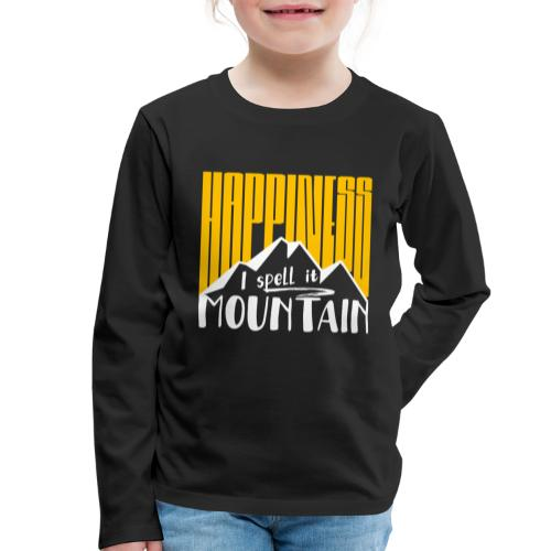 Happiness I spell it Mountain Outdoor Wandern Berg - Kinder Premium Langarmshirt