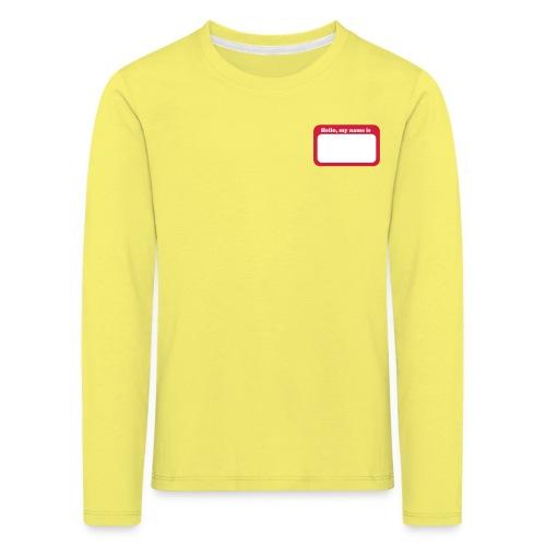 HelloMyNameTag - Maglietta Premium a manica lunga per bambini