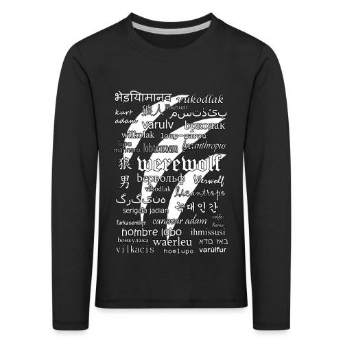 Werewolf in 33 Languages (Black Version) - Koszulka dziecięca Premium z długim rękawem