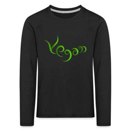 Vegaani käsinkirjoitettu design - Lasten premium pitkähihainen t-paita