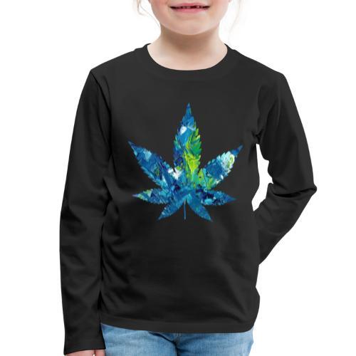 Artful cannabis leaf in acrylic paint - Kids' Premium Longsleeve Shirt