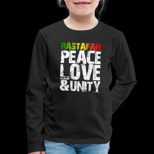 RASTAFARI - PEACE LOVE & UNITY - Kinder Premium Langarmshirt