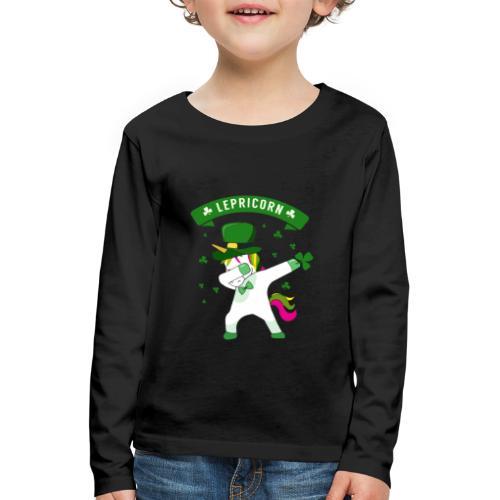 Lepricorn - St. patricks Day Unicorn dab pose - Kinder Premium Langarmshirt