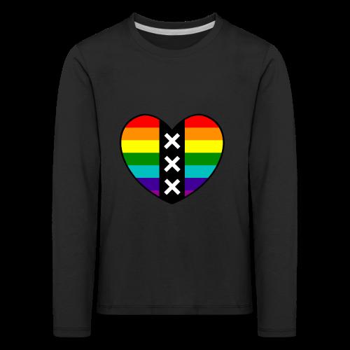 Hart Amsterdam in regenboog kleuren - Kinderen Premium shirt met lange mouwen