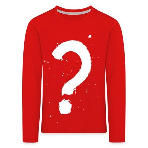 Kysymysmerkki valkoinen - Lasten premium pitkähihainen t-paita
