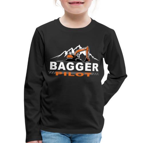 Bagger Pilot Baustelle Baumaschine - Kinder Premium Langarmshirt