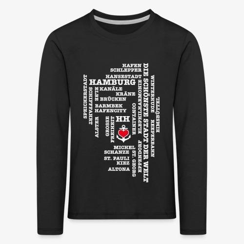 Hamburg Begriffe / Herz auf Anker / Text weiss - Kinder Premium Langarmshirt