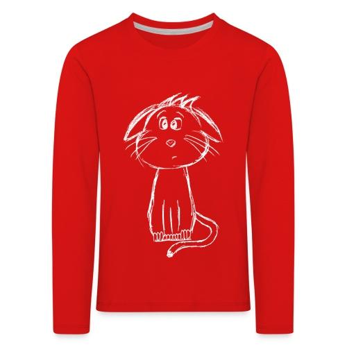 Kissa Kissanpentu valkoinen scribblesirii - Lasten premium pitkähihainen t-paita