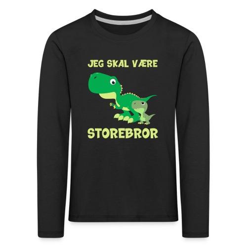 Jeg skal være storebror dino dinosaur dinosaurus - Børne premium T-shirt med lange ærmer