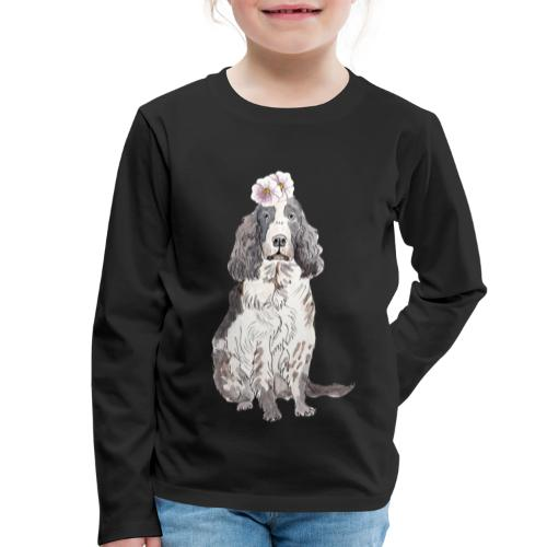 English cocker spaniel with flower - Børne premium T-shirt med lange ærmer