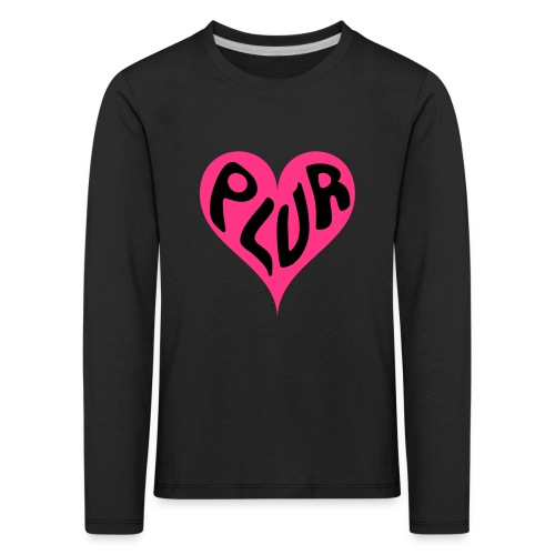 PLUR - Peace Love Unity and Respect love heart - Kids' Premium Longsleeve Shirt