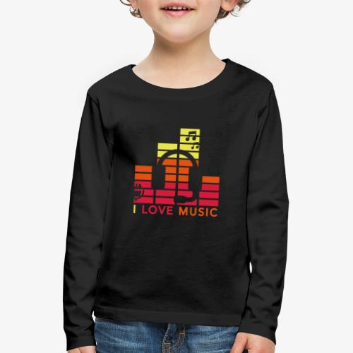 I love music Illustration Gig Band Musik Godigart - Kinder Premium Langarmshirt