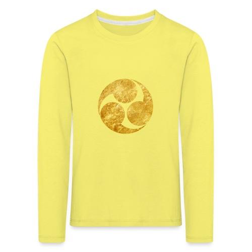 Kobayakawa Mon Japanese clan gold on black - Kids' Premium Longsleeve Shirt