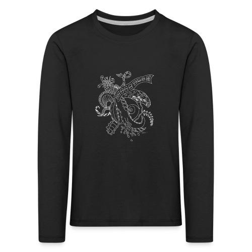 Fantasy hvid scribblesirii - Børne premium T-shirt med lange ærmer