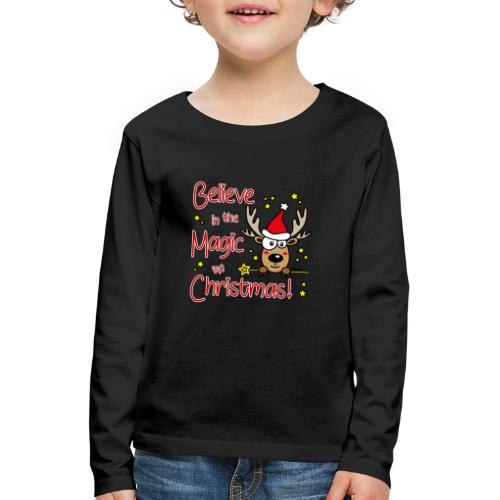 Renne, Magic of Christmas, Happy Christmas, Noël - T-shirt manches longues Premium Enfant