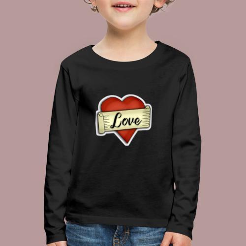 Love cœur tatouage - T-shirt manches longues Premium Enfant