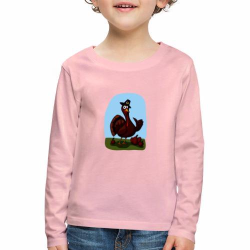 Black Cartoon Thumbs Up Turkey - Kinder Premium Langarmshirt
