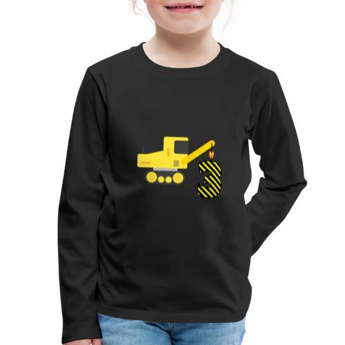 Trzecie urodziny dźwig pojazd - Koszulka dziecięca Premium z długim rękawem