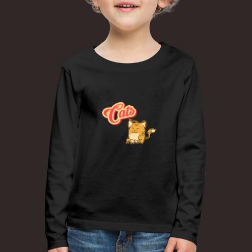 Katze | Katzen süß Schriftzug - Kinder Premium Langarmshirt