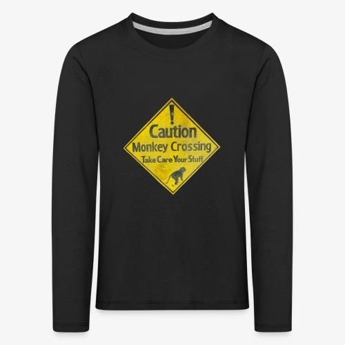 Caution Monkey Crossing - Kinder Premium Langarmshirt
