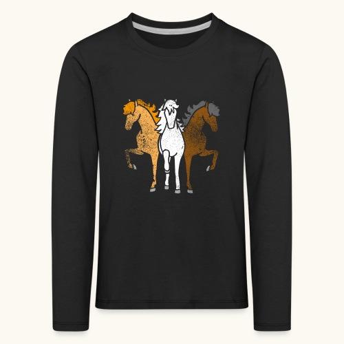 Drôle idée de cadeau chevaux couleurs troika Grunge - T-shirt manches longues Premium Enfant