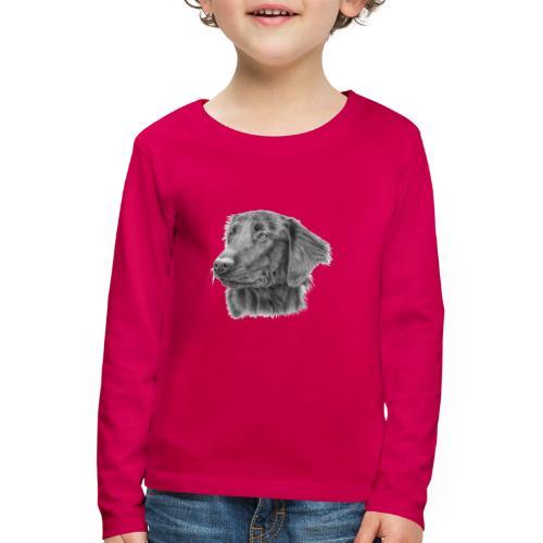 flatcoated retriever bw - Børne premium T-shirt med lange ærmer