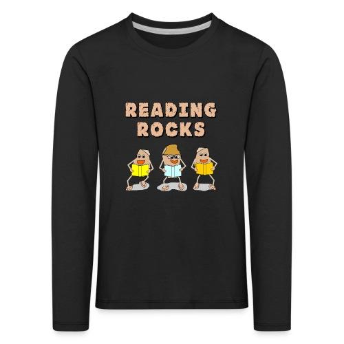 Reading Rocks Funny Book Lovers - Kids' Premium Longsleeve Shirt