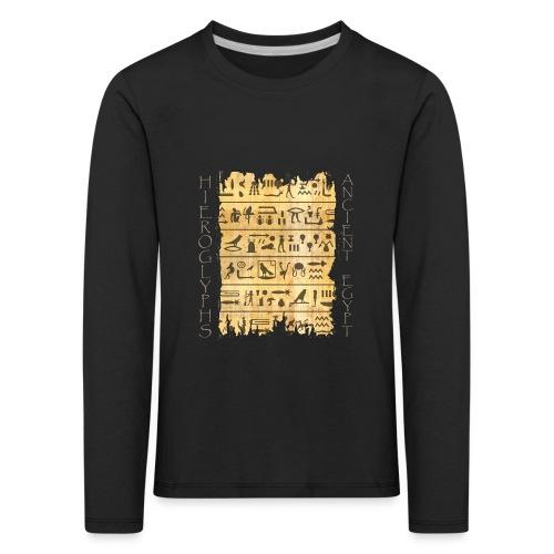 Ausgerissener Papyri mit Hieroglyphen - Kinder Premium Langarmshirt