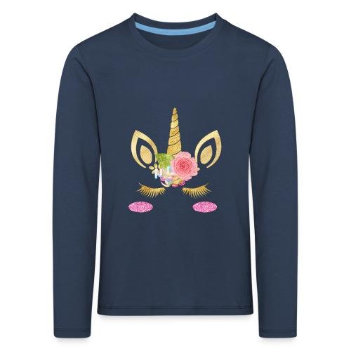 unicorn face - Kinder Premium Langarmshirt