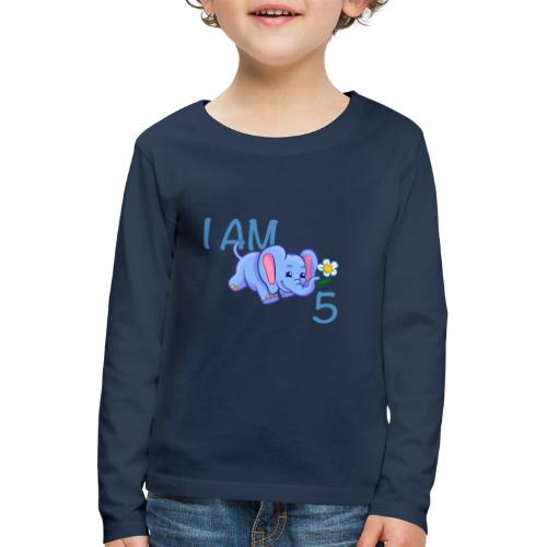 I am 5 - elephant blue - Kids' Premium Longsleeve Shirt
