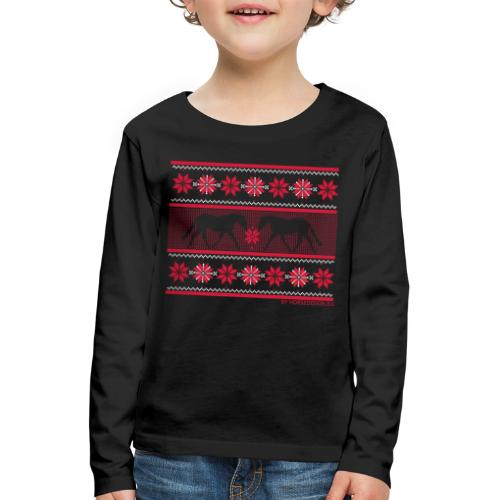 Ugly Sweater Pferde - Kinder Premium Langarmshirt