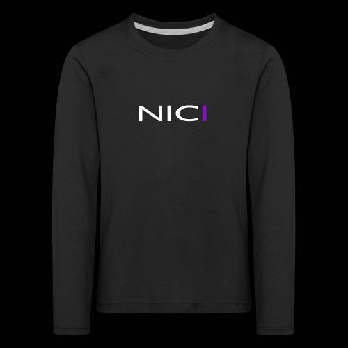 NICI logo WHITE - Lasten premium pitkähihainen t-paita