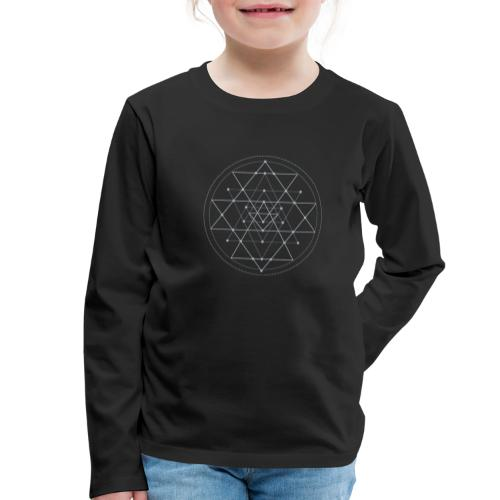 Harmaa geometrinen Shri Yantra -kuvio - Lasten premium pitkähihainen t-paita