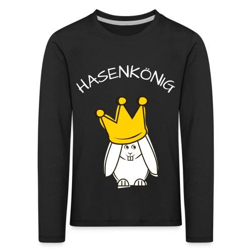 Hipps mit Schriftzug Hasenkönig (weiß) - Kinder Premium Langarmshirt
