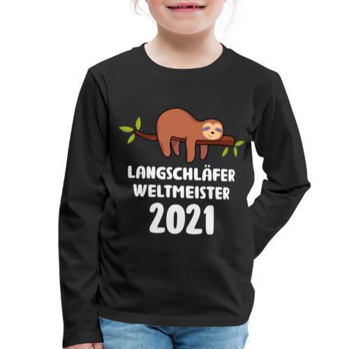 Faultier Spruch Schlafen Schlafshirt Geschenk - Kinder Premium Langarmshirt