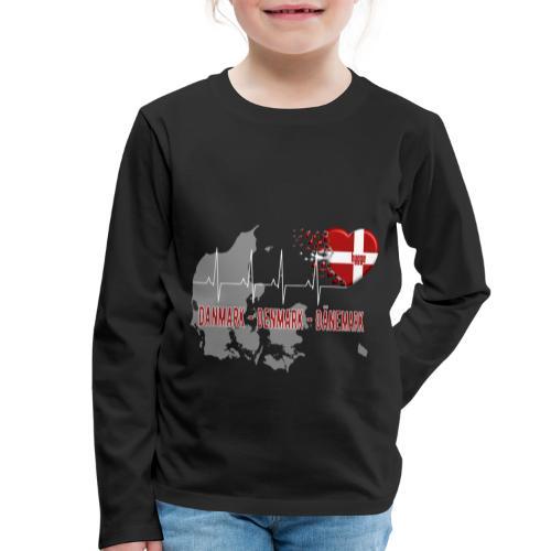 Dänemark Denmark Danmark Hygge Herzschlag EKG - Kinder Premium Langarmshirt