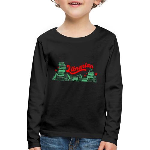 0322 Stack of books Librarian bookshelf - Kids' Premium Longsleeve Shirt
