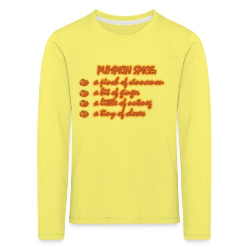 PumpkinSpiceRecipe - Maglietta Premium a manica lunga per bambini