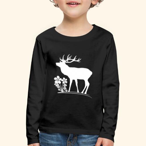 wilder Hirsch mit Blumen, Tiere, Reh, Hirsche - Kinder Premium Langarmshirt