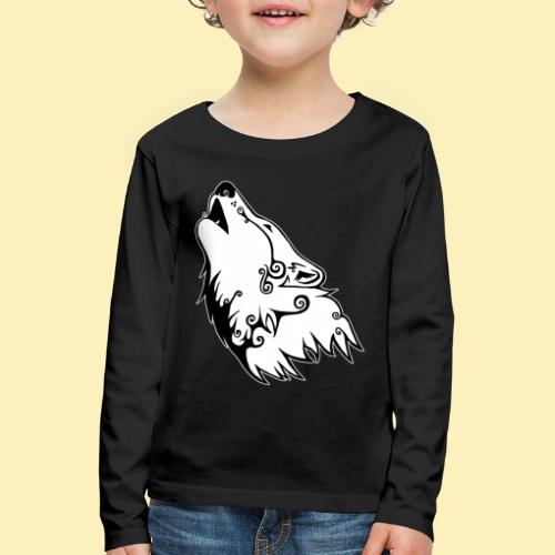 Le Loup de Neved (version contour blanc) - T-shirt manches longues Premium Enfant