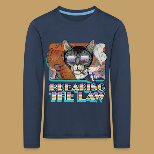 Crime Cat in Shades - Braking the Law - Koszulka dziecięca Premium z długim rękawem