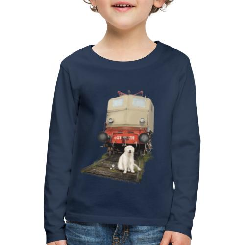 Golden Retriever with Train - Maglietta Premium a manica lunga per bambini