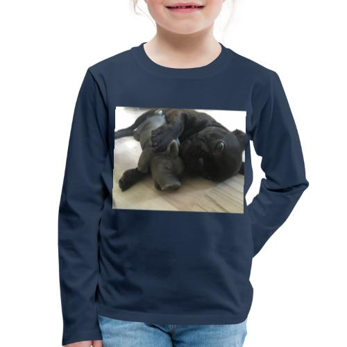 kuschelnder Hund - Kinder Premium Langarmshirt