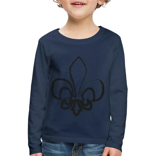 Pinselzeichnung Lilie – Schwarz - Kinder Premium Langarmshirt