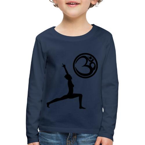 Der Held Yoga Asana Warrior mit OM Symbol Cool - Kinder Premium Langarmshirt