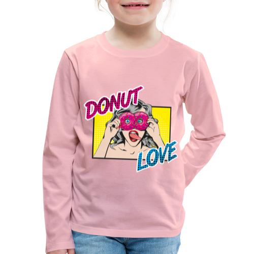 Popart - Donut Love - Zunge - Süßigkeit - Kinder Premium Langarmshirt