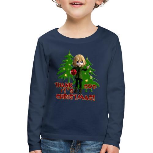 Weihnachtself Thank God it´s Christmas! - Kinder Premium Langarmshirt