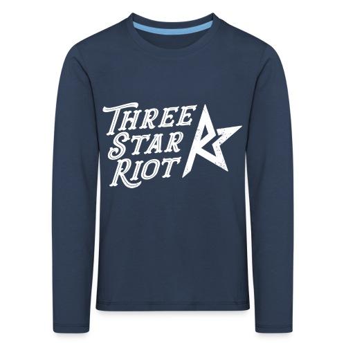 Three Star Riot logo vaalea - Lasten premium pitkähihainen t-paita